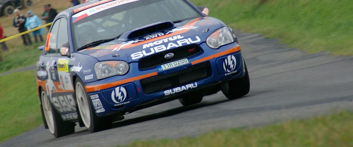 Vojta Štajf s Marcelou Ehlovou na Barum Rally 2012